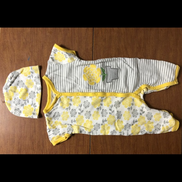 Buster Brown Matching Sets Euc Sz69m Yellow Floral